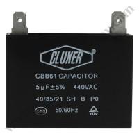 Capacitor de Ventilador, 5Mf, 440VAC +-5%, 50/60Hz, Cluxer