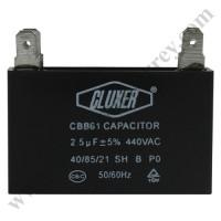 Capacitor de Ventilador, 2.5Mf, 440VAC  -5%, 50/60Hz, Cluxer - CXCP44025
